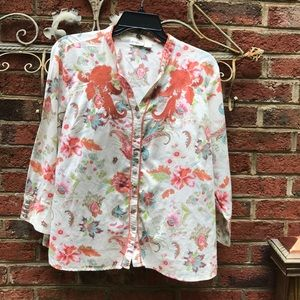 Large - Cato 3/4 sleeve Button Down Top